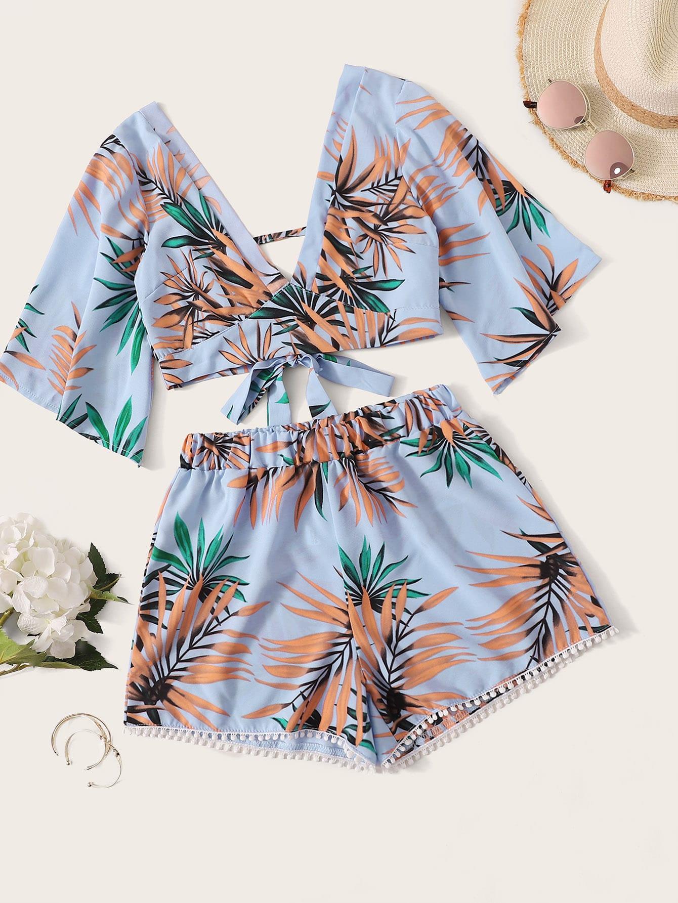 Фото - Топ с тропическим принтом и шорты с помпоном от SheIn цвет многоцветный