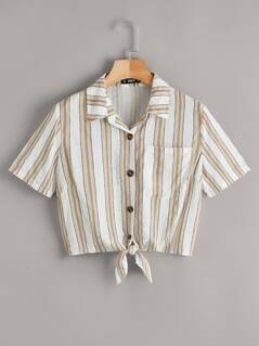Button Fly Tie Hem Striped Blouse