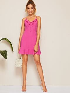 Neon Pink Tie Neck Flounce Hem Dress