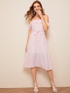 Ruffle Foldover Self Belt Bardot Dress