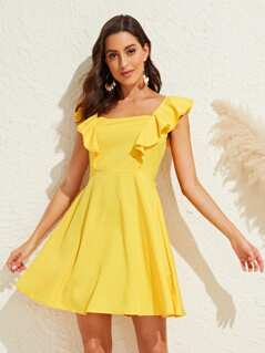 Ruffle Trim Tie Back Solid Fit & Flare Dress
