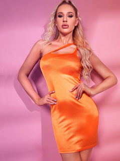 Neon Orange One Shoulder Bodycon Satin Dress