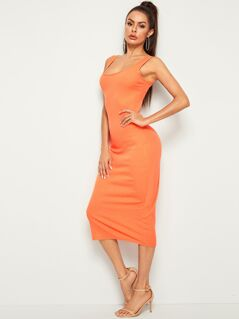 Neon Orange Skinny Tank Dress