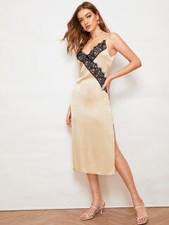 Contrast Lace Surplice Neck Split Satin Cami Dress