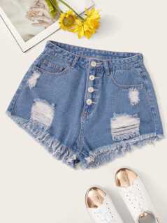 Button Fly Raw Hem Ripped Denim Shorts
