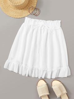 Paperbag Waist Ruffle Hem Solid Skirt