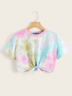 Knotted Front Tie Dye Crop Top