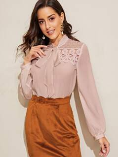 Tie Neck Guipure Lace Panel Top