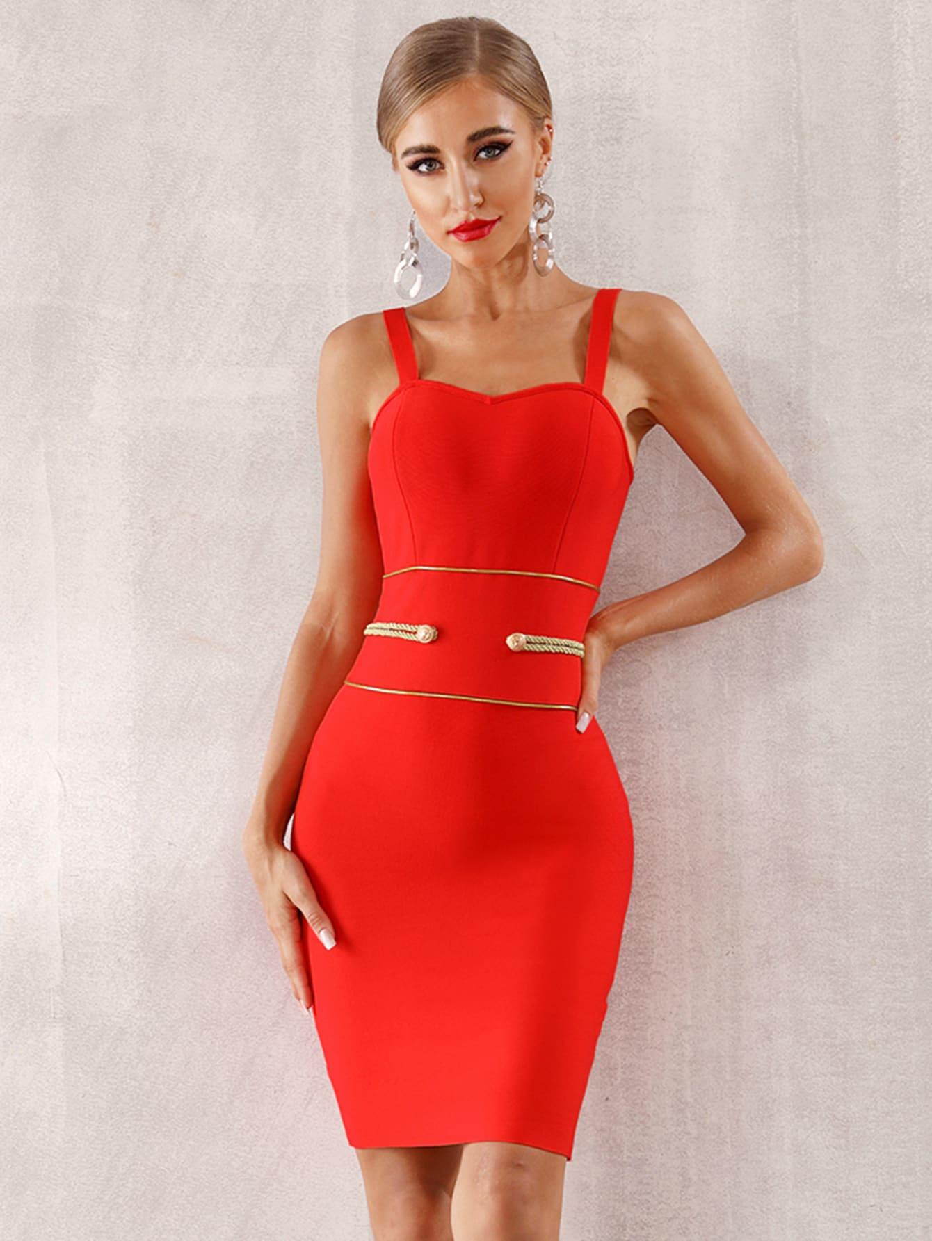 Фото - Adyce облегающее платье-комбинация с пуговицами от SheIn цвет оранжевые