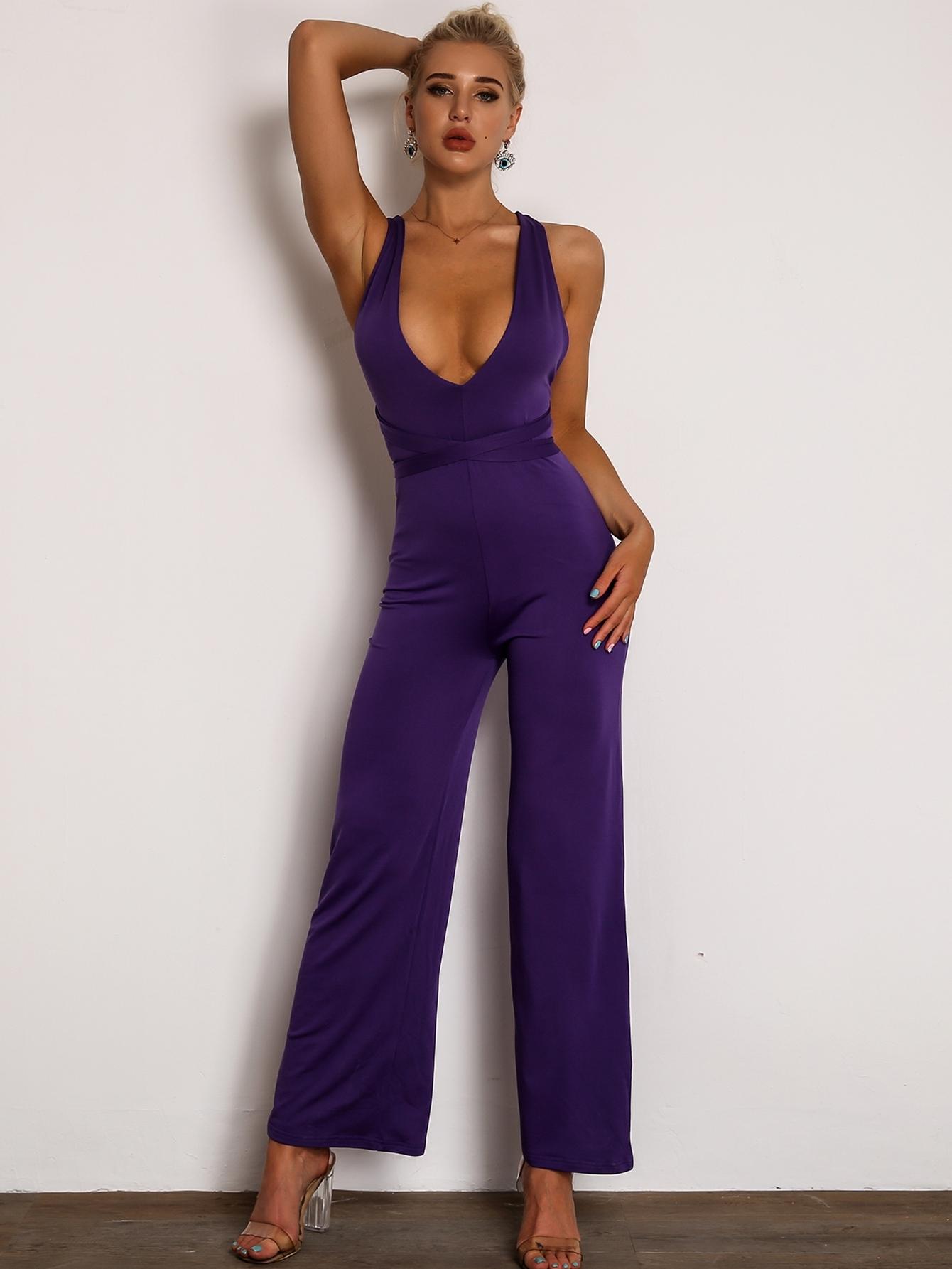 Фото - Joyfunear комбинезон на шнуровке с открытой спинкой от SheIn фиолетового цвета