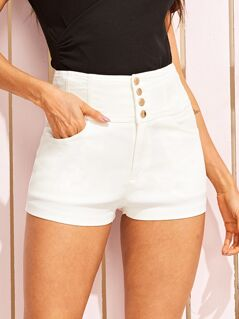 Button Fly Wide Waistband Skinny Shorts
