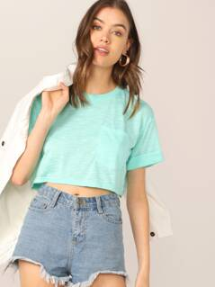 Crop Pocket Patched Cuffed Top