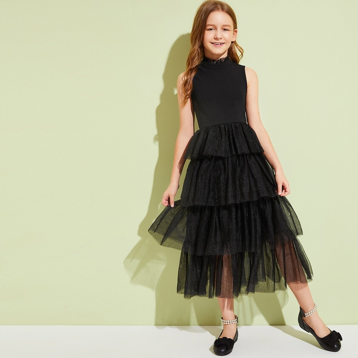 Сетчатое платье с воротником-стойкой для девочек от SHEIN