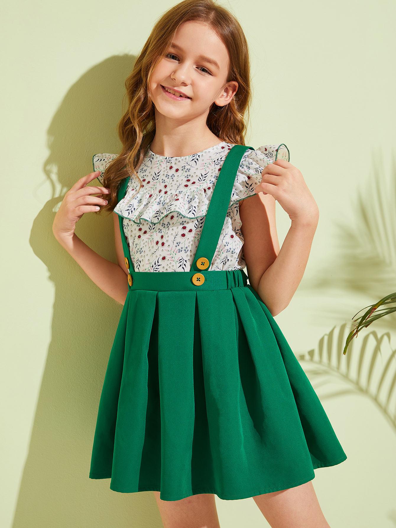 Фото - Цветочный топ и плиссированная юбка-сарафан от SheIn цвет многоцветный