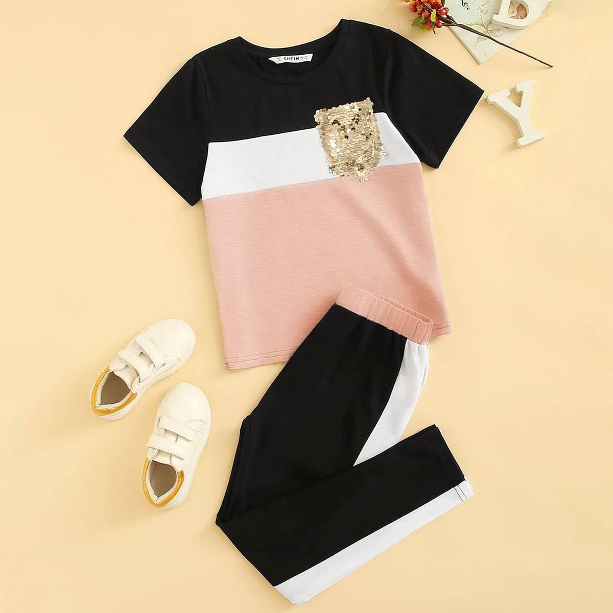 Контрастный топ с блестками и брюки для девочек от SHEIN