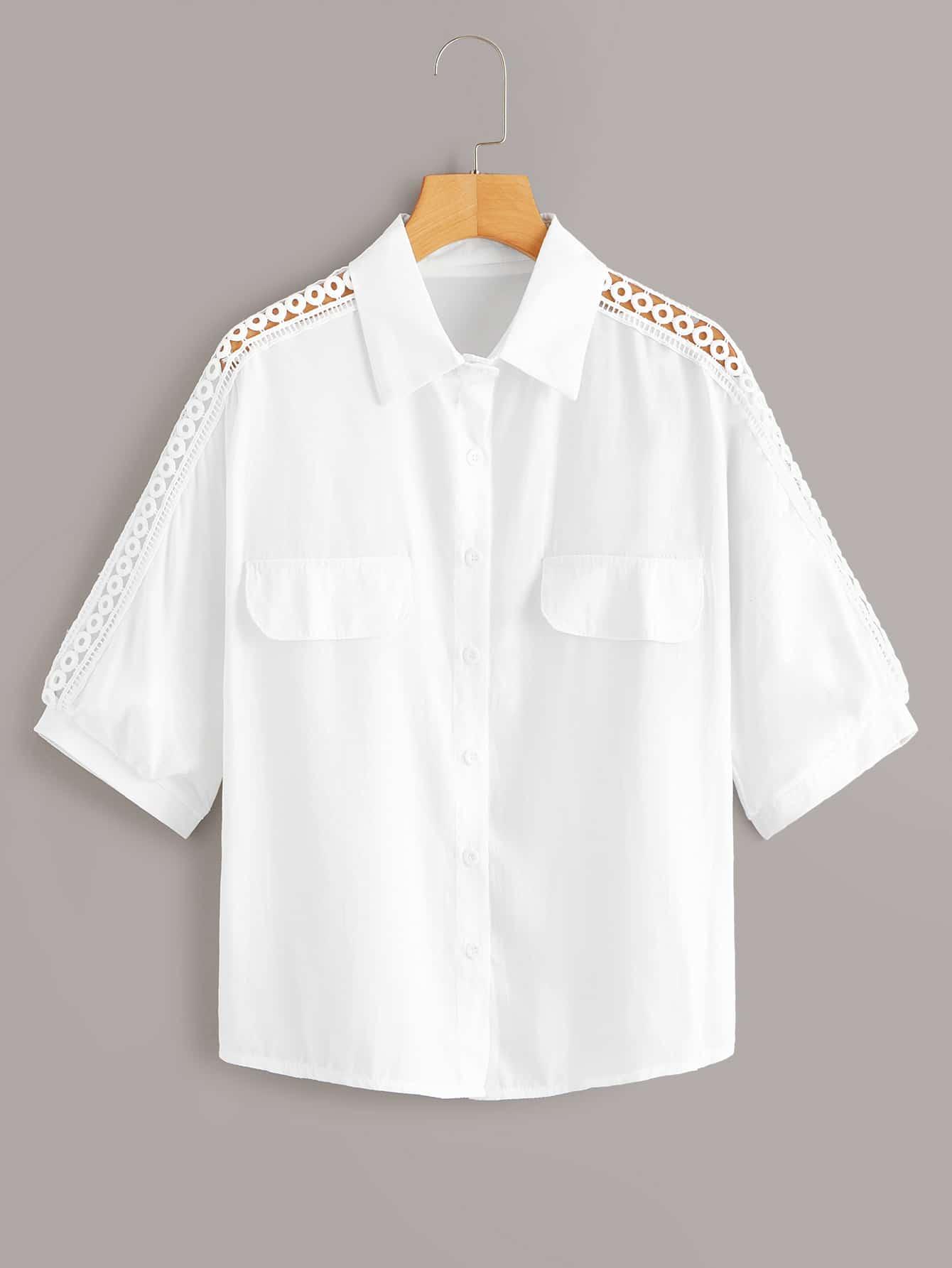 Фото - Однотонная блуза с пуговицами и кружевом от SheIn белого цвета