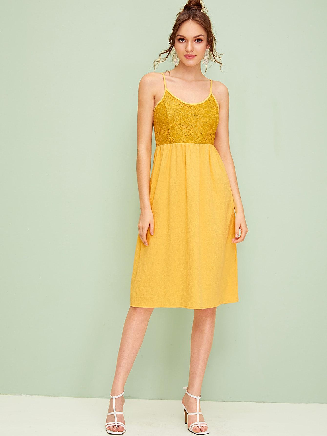 Фото - Платье с молнией и кружевом от SheIn цвет жёлтые