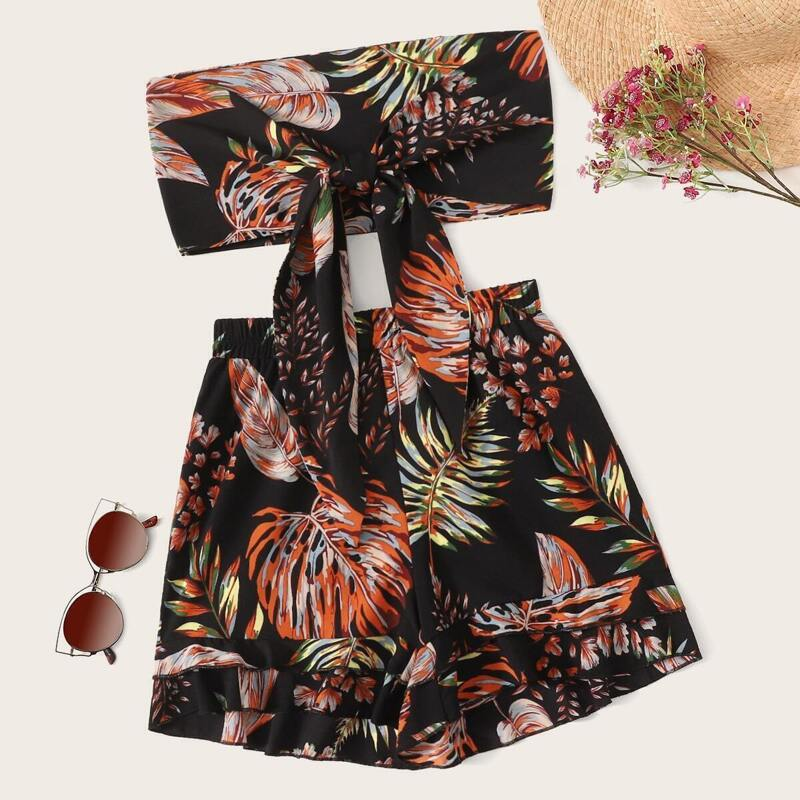 Tropical Print Tie Front Bandeau With Shorts, Multicolor