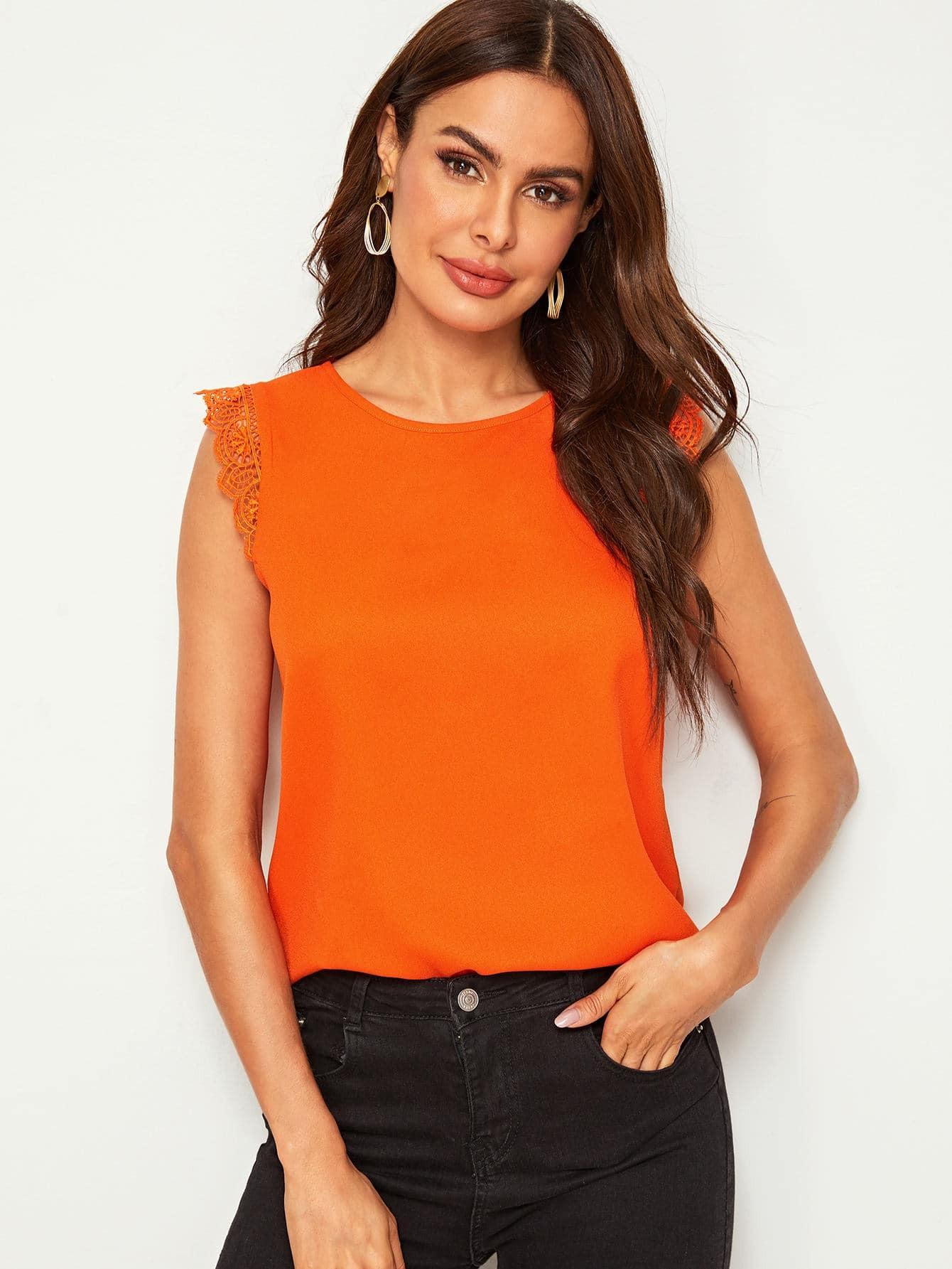 Фото - Топ с кружевной отделкой от SheIn оранжевого цвета