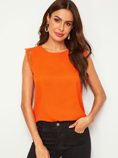 Neon Orange Lace Trim Top