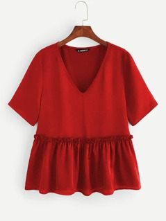 V-neck Frill Trim Peplum Top