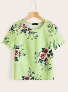Neon Lime Scallop Trim Floral Print Top