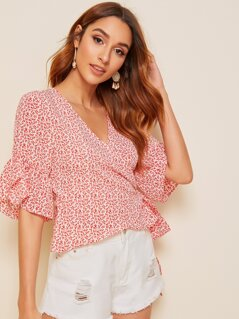 Ditsy Floral Ruffle Cuff Wrap Blouse