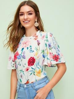 Keyhole Back Flutter Sleeve Floral Print Top