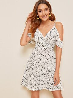 Cold Shoulder Ruffle Trim Confetti Heart Print Dress
