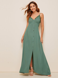 Button Front Lace Trim Maxi Slip Dress