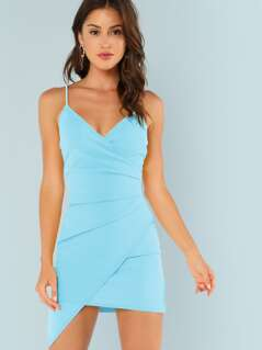 Surplice Neck Asymmetrical Hem Bodycon Slip Dress