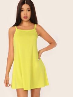 Solid Slip Swing Dress