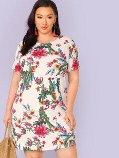 Plus Scallop Cuff Floral Print Dress