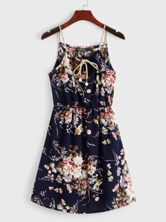 Pearls Tie Front Floral Print Cami Dress