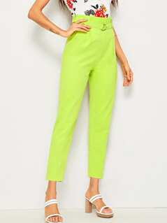 Neon Lime Paperbag Waist D-ring Belted Pants