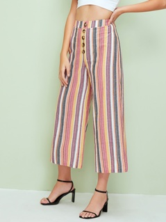 Wide Band Waist Button Detail Striped Palazzo Pants