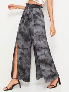 Paperbag Waist Tie Dye Slit Wide Leg Pants