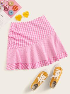 Tie Front Ruffle Hem Gingham Skirt