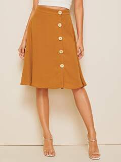 Button Front Textured Skirt