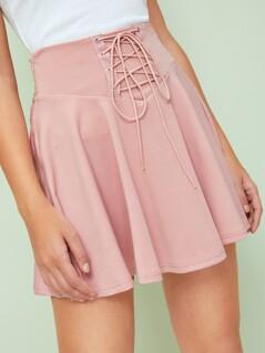 Grommet Lace Up Waist Skater Skirt