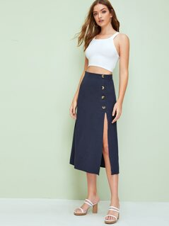 High Waist Button Up Skirt