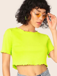 Neon Green Lettuce Edge Rib-knit Crop Tee