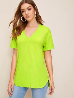 Neon Lime V-neck Cuff Sleeve Top