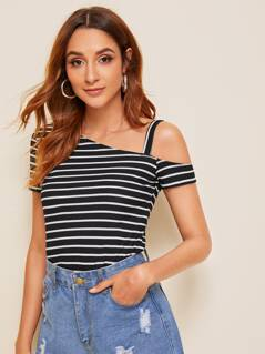 Asymmetrical Neck Striped Rib-knit Top