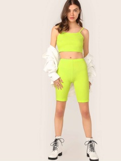 Neon Lime Rib-knit Crop Cami and Leggings Shorts Set