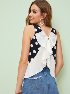 Bow Ruffle Back Polka Dot Top