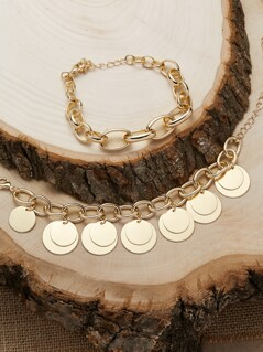 Chunky Chain Disc Charm Set Of Two Bracelets