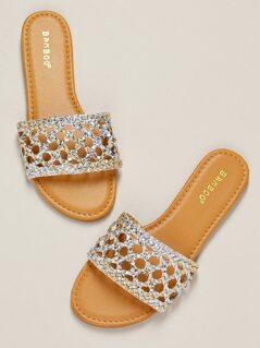 Metallic Two Tone Woven Band Flat Slide Sandals