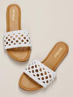 Interlock Braided Band Flat Slide Sandals