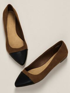 Contrast Two Toned Pointy Toe Slip On Ballet Flats